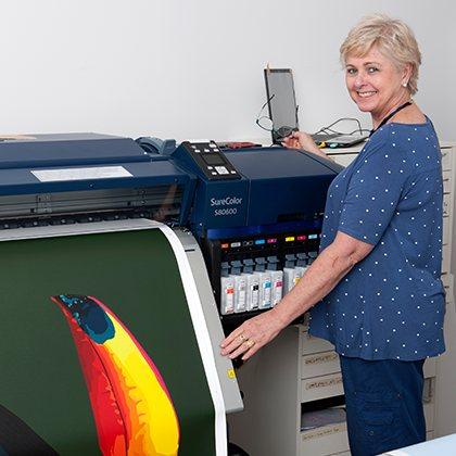 gillian-at-printer